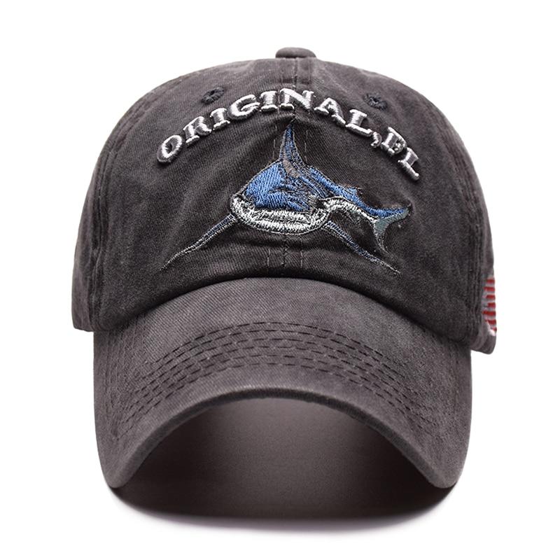 5db9e6cdc SMANGET Retro Washed Shark Baseball Cap Shark USA Flag Embroidery Snapback  Hats ORIGINAL Letters Sports Cap Men Women Cotton Hat-in Baseball Caps from  ...