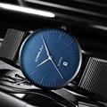 CRRJU мужские синие ультратонкие часы из нержавеющей стали  мужские классические кварцевые часы  роскошные мужские наручные часы с датой  Relogio...