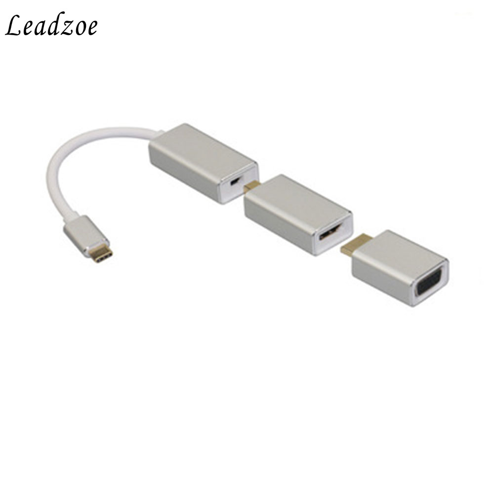 All in 1 Usb C 3.1 Type C To Mini Displayport Dp Adapter Support 4k Male To Female Hdtv Converter Cable VGA HDMI for Macbook Pro usb 3 1 type c usb c to mini displayport dp male 4k monitor cable for macbook
