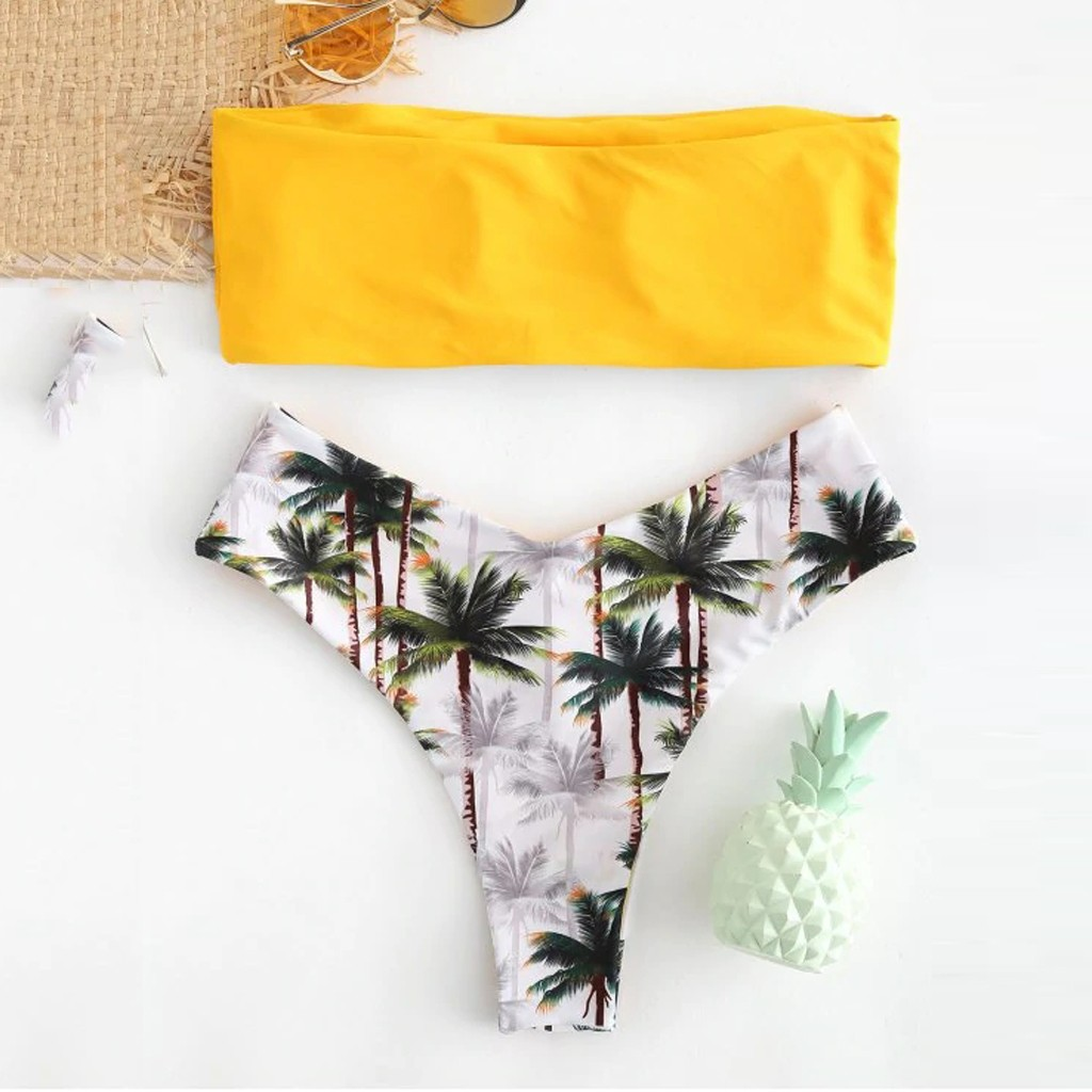 Sexy Bikini Swimsuit Women's Swimming Suit Swimwear Women 2019 Bikini Set Coconut Print Padded Swimwear Bathing Beachwear