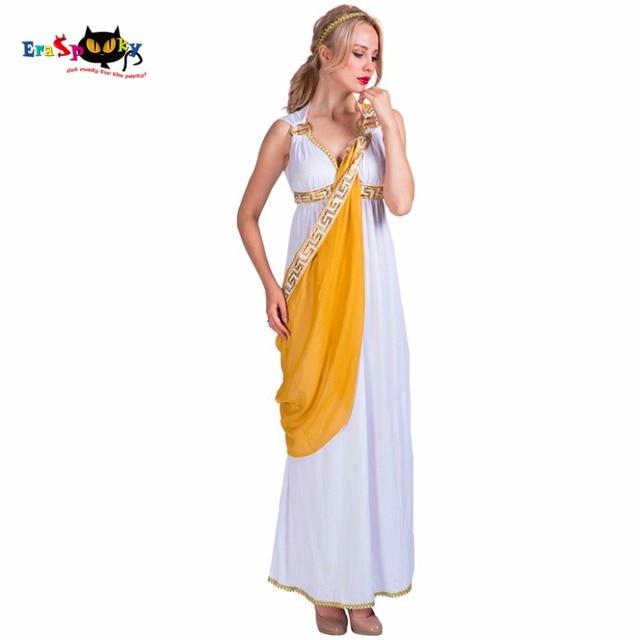 Donne Sexy Dea Greca Della Signora Romana Egiziana Costume Cosplay Bianco  Tuta Abito del Vestito Operato 74e048762a1