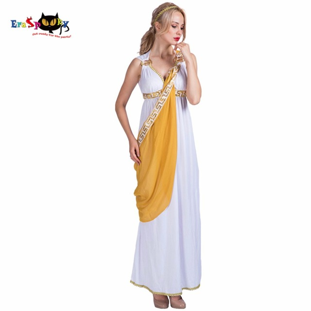 Women Sexy Greek Goddess Roman Lady Egyptian Costume Cosplay White Jumpsuit Robe Fancy Dress for Female Adult Halloween Costumes
