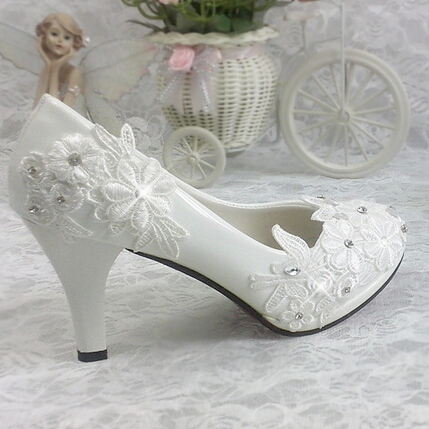 ФОТО Plus size 40 41 fashion lace wedding shoes white for women TG312 handmade bridal shoe comfortable heel platforms brides shoe