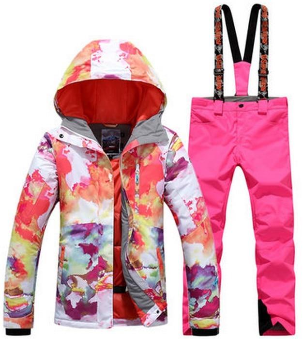 Prix pour Femelle rose combinaison de ski femmes planche à roulettes équitation costume vêtements de ski ski veste et rose jarretelles pantalons de ski escalade costume de sport