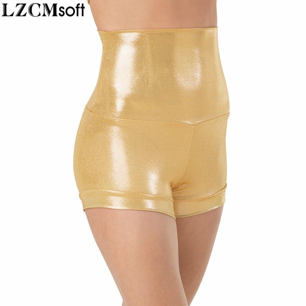 Women's High Waist Dance Shorts Shiny Metallic Underpants Girls Show Stage Performance Wet Look Street Style Shorts