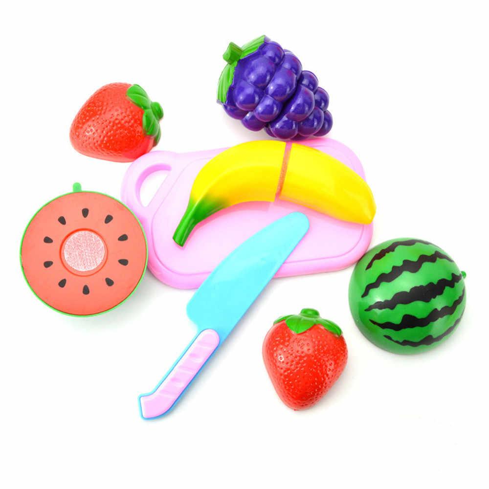 TELOTUNYPlastic ecoractive дети ролевые игры кухня фрукты овощи еда игрушка резка набор подарок развивающая игрушка Горячая Jan15