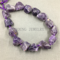 MY0096 Natural Rough Raw Purple Crystal Quartz Nugget ,Nature Stone Beads Point Drilled Quartz Beads,Free Shipping