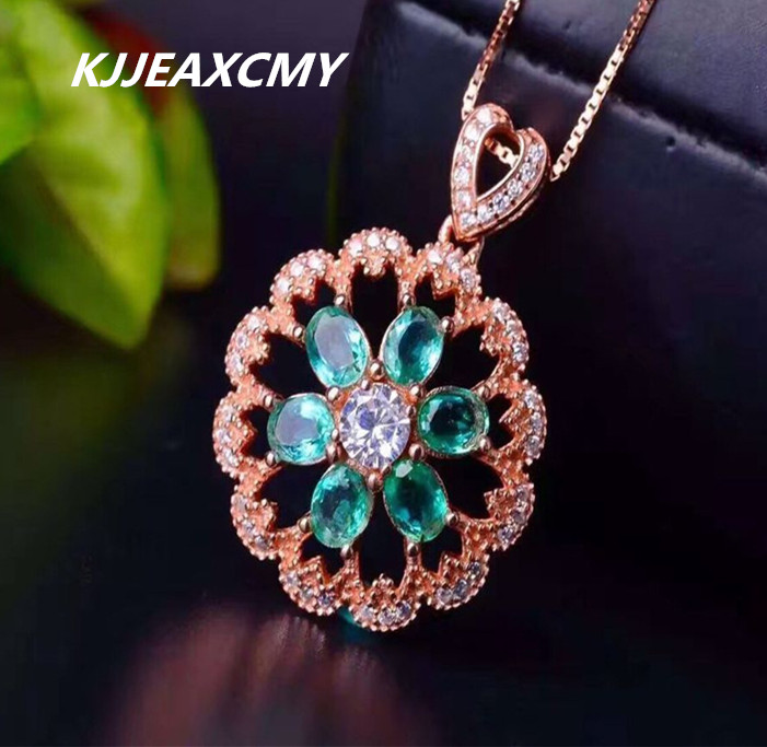 KJJEAXCMY boutique jewelry,Female natural emerald necklace pendant inlaid custom made wholesale S925 Sterling Silver s925 sterling silver inlaid natural stone thai silver beautiful burning blue brooch female pendant new products