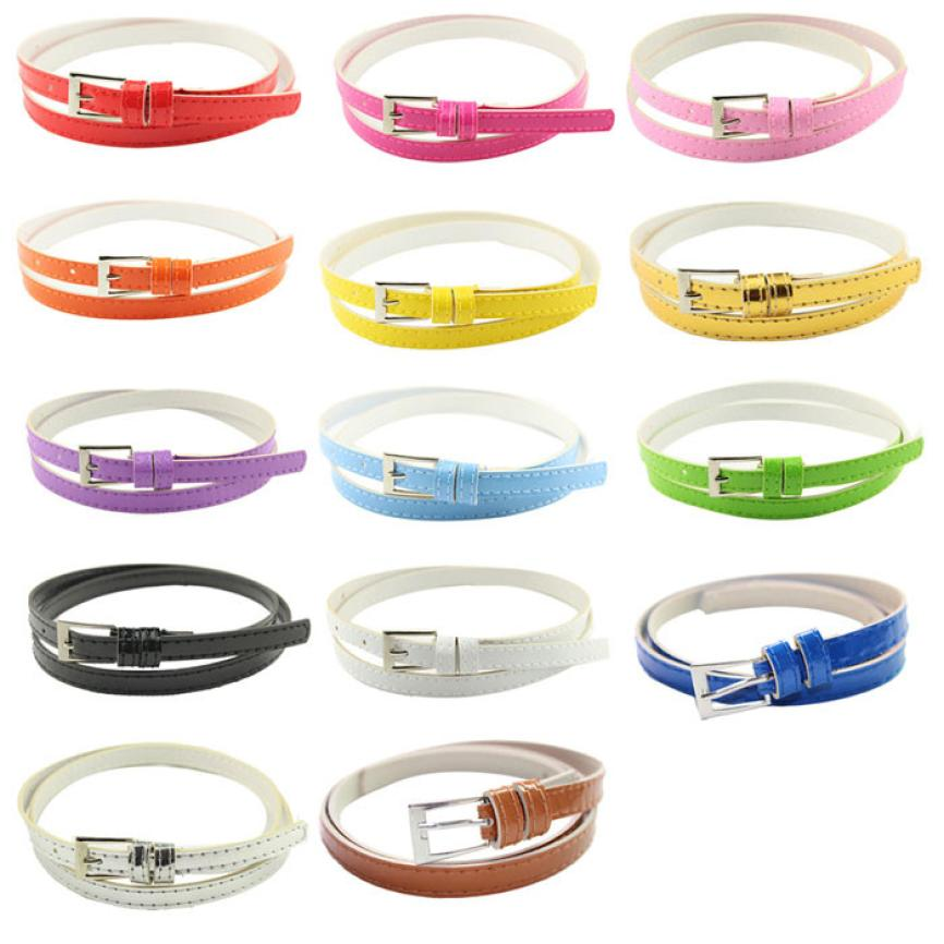 desire #50 Hot Beautiful Woman Multicolor Small Candy Color Thin Leather Belt Ms Belt