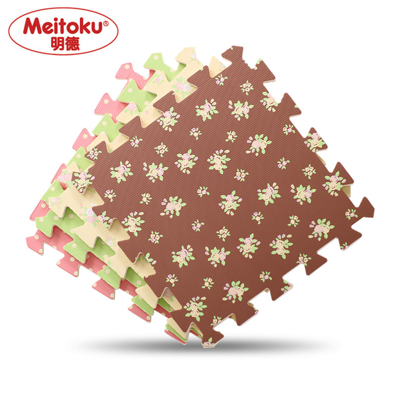 "Meitoku Soft EVA Foam puzzle Play Mat,10pcs/lot Exercise mat tiles;interlock floor crawling pad  Each12""x12""x3/8"""
