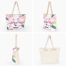 Sale Large Capacity Flamingo Printed Summer Beach Shoulder Bag