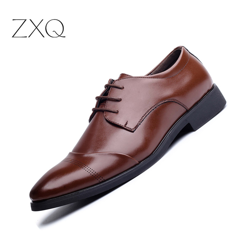 Plus Size 46,47 Men Leather Shoes Pointed Toe Black Brown Luxury Formal Business Shoes Office Dress Men Shoes patent leather men s business pointed toe shoes men oxfords lace up men wedding shoes dress shoe plus size 47 48