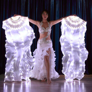 Image 5 - 2019 New Belly Dance LED lights Silk Fan Veils colorful Rainbow Stage Performance Props LED Fan Veil for Oriental Dancing Fans
