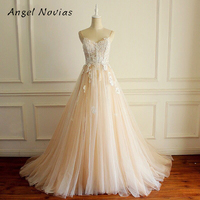 Angel Novias A Line Champagne Vintage Wedding Dresses 2018 with Spaghetti Straps