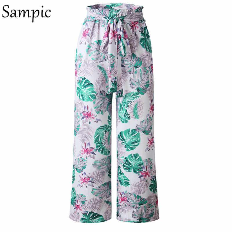Sampic широкие брюки с высокой талией женские свободные пляжные Boho женские брюки повседневные брюки с цветочным принтом розовые пояса летние длинные брюки