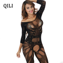 QILI Women Night Club Sexy Jumpsuits See Through Mesh Hollow Out Hip 3/4 Sleeve Jumpsuit Womens Wear Black One Size