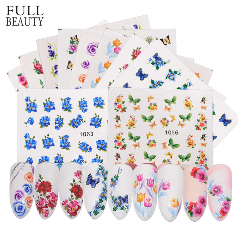 Full Beauty 40pcs Nail Sticker Flower Butterfly Rose Water Transfer Decals For Nail Art Sliders Set Foils Decoration CH1051-1100