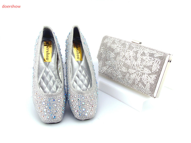 doershow Shoes and Bag Set African Sets 2017 Ladies Italian Shoes and Bag Set Decorated with Rhinestone Nigerian Shoes  HJN1-2 african style nicelooking italian matching shoes and bag set ladies shoes and bag to match for nigerian wedding doershow wtt1 22