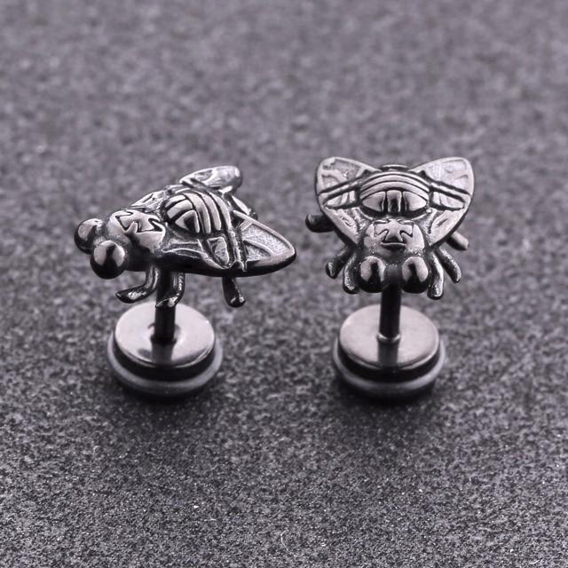 Купить женские и мужские серьги черные гвоздики в форме мухи из нержавеющей