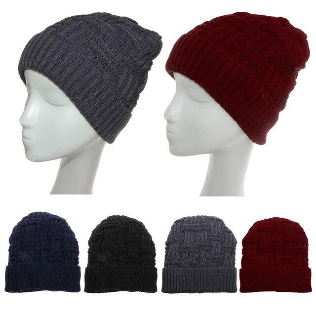 64845e0b98b Men Women Knit Baggy Beanie Warm Winter Hat Slouchy Chic Knitted Cap Skull  Blue Black