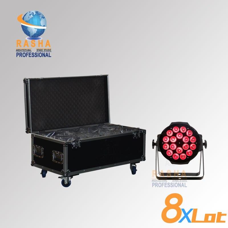(Pack of 8 with flight case)Rasha Hex 18*18W LED PAR LIGHT Alunium 6in1 RGBAW UV LED Par Light Stage Light Par Projector