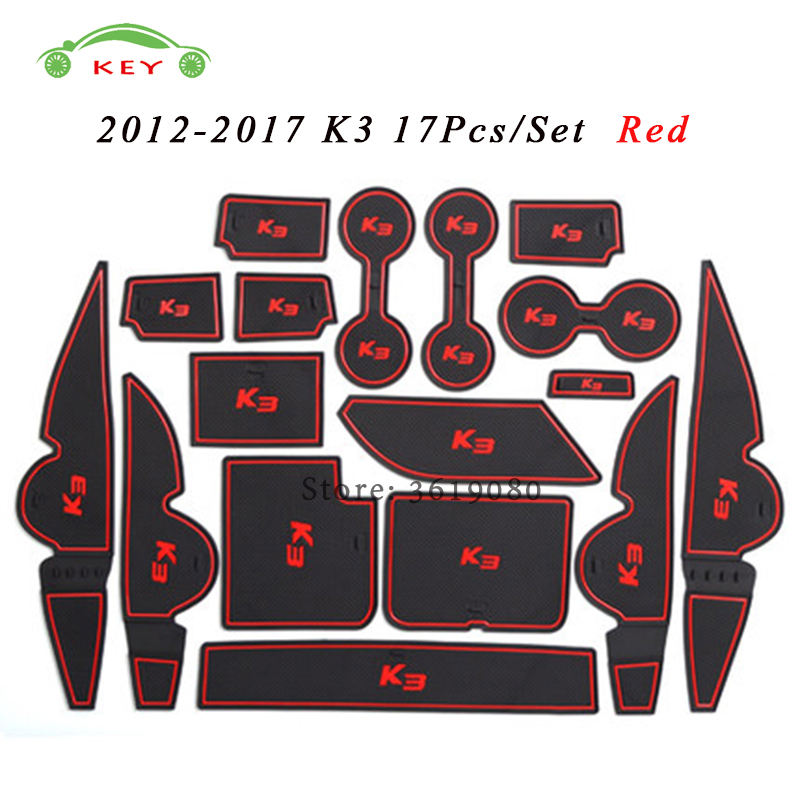 Car Interior Accessories Rubber Door Pad for KIA K3 2012-2017 Anti-slip Gate Slot Mat Cup Groove Mat Auto Decoration 17Pcs стоимость