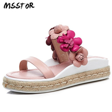 MSSTOR Appliques Slippers Women Flat With White Flower Sweet Straw Fashion Casual Women Summer Shoes Peep Toe Platform Shoes