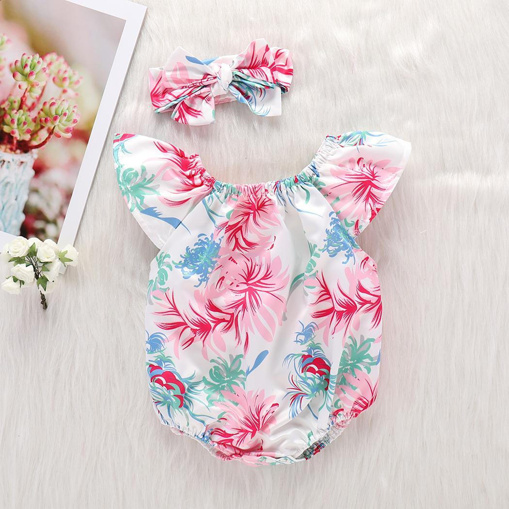 Sleeve Girls Wear O-neck Short Romper Floral Stretchy Kids with Headband
