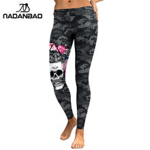 NADANBAO New Arrival Leggings Women Skull Head 3D Printed Camouflage Legging Workout Leggins Slim Elastic Plus Size Pants Legins(China)
