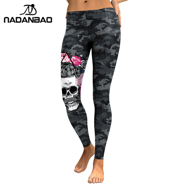 NADANBAO New Arrival Leggings Women Skull Head 3D Printed Camouflage Legging Workout Leggins Slim Elastic Plus Size Pants Legins