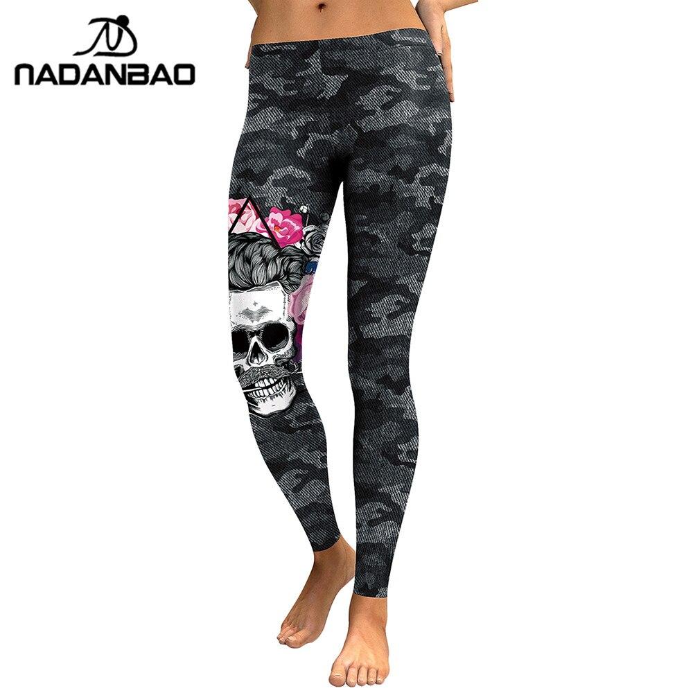 NADANBAO Nova Chegada Leggings Mulheres Crânio Cabeça 3D Impresso Camouflage Legging Leggins Treino Magros Elásticas Plus Size Calças Legins