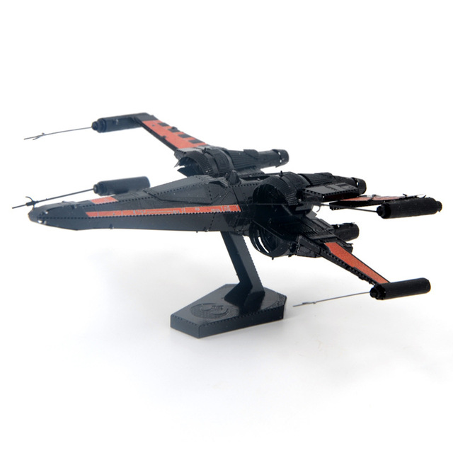 Colorized X-wing Star Fightermodel laser cutting 3D puzzle DIY metalic spacecraft jigsaw Star war model birthday gifts