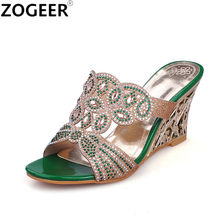 c206b414f New 2018 Summer Wedges High Heel Slippers Fashion Luxury Rhinestone Sandals  Causal Flip flops Beach Shoes Woman Gold Green