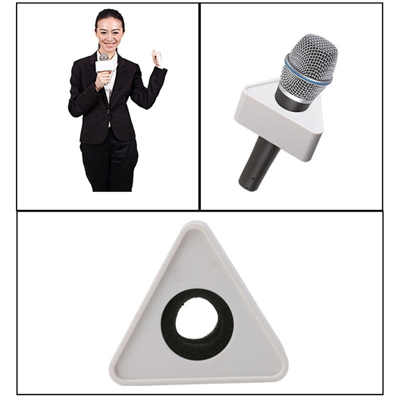 ABS Plastic Microphone Interview Triangular Logo Flag Station Black/White Durable