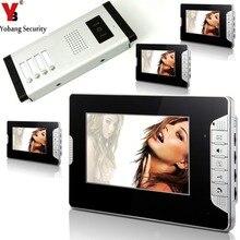 YobangSecurity 4 Units Apartment Intercom Wired 7″ Video Door Phone Video Door Entry Intercom System Home Security Doorbell Kit