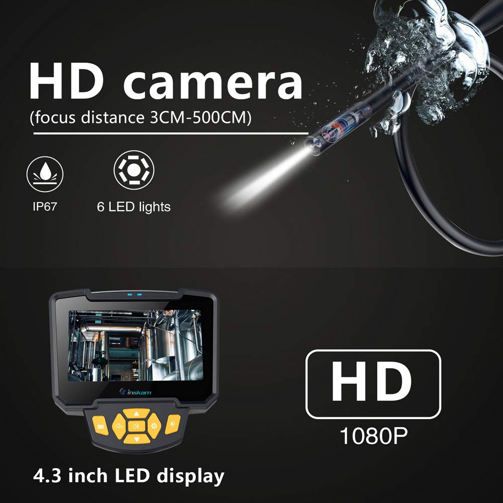 1M 10M 4 3 Inch Lcd Display Pipe Inspection Industrial Endoscope 1080P Inspection Cameral IP67 Waterproof Snake Tube Borescopes in Surveillance Cameras from Security Protection
