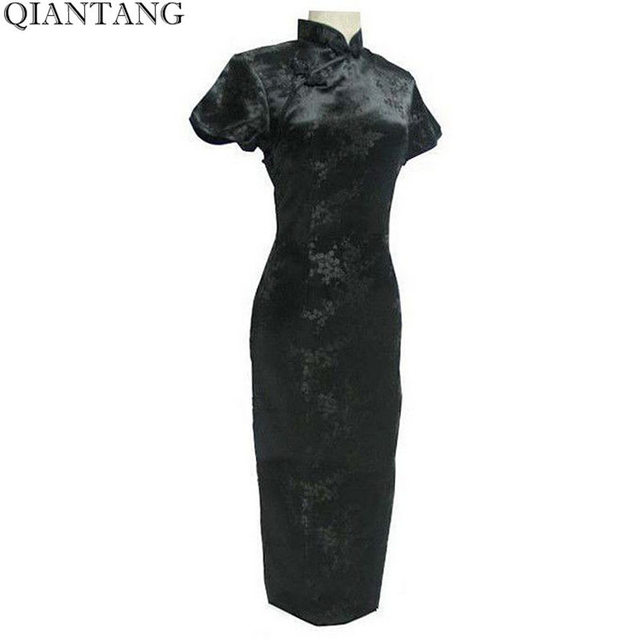 0816f8647 Black Traditional Chinese Dress Qipao Long Cheong Sam Flower S M L XL XXL  XXXL 4XL
