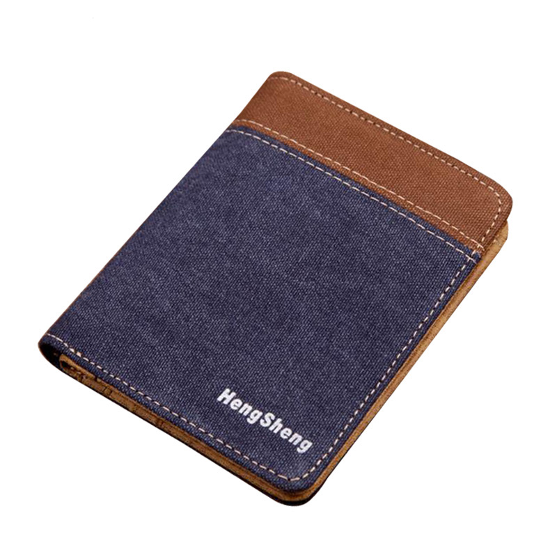 все цены на Bifold Men Wallet Ultra Slim Canvas Wallets Short Men Purses Credit  ID Card Holder Pouch Dollar Pocket Bag Brand Wallet For Men онлайн