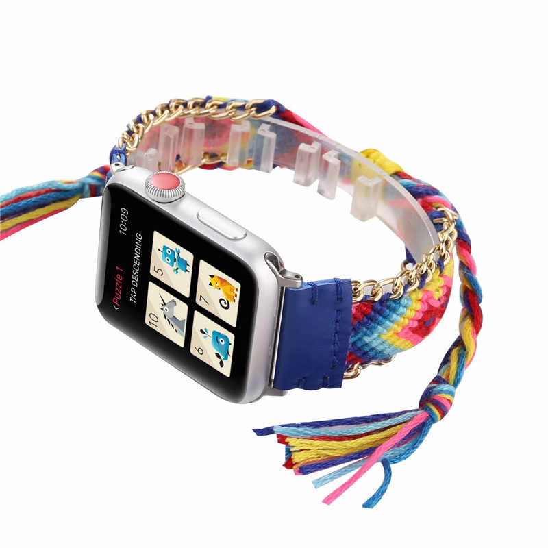 Watchbands for Apple Watch Band 38mm 40mm Wristband Handmade Weave Straps National Rainbow Bracelet for iWatch 1/2/3/4 42mm 44mm