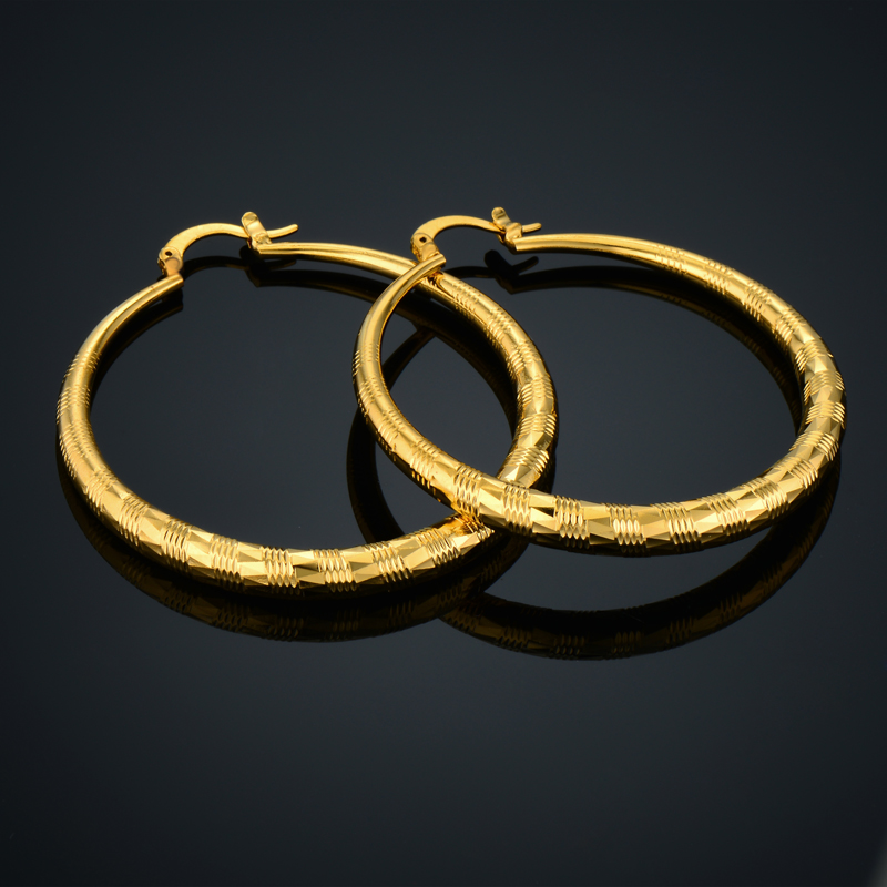 Fashion Big Round Hoop Earrings Elegant Simple Gold Color Gold ...