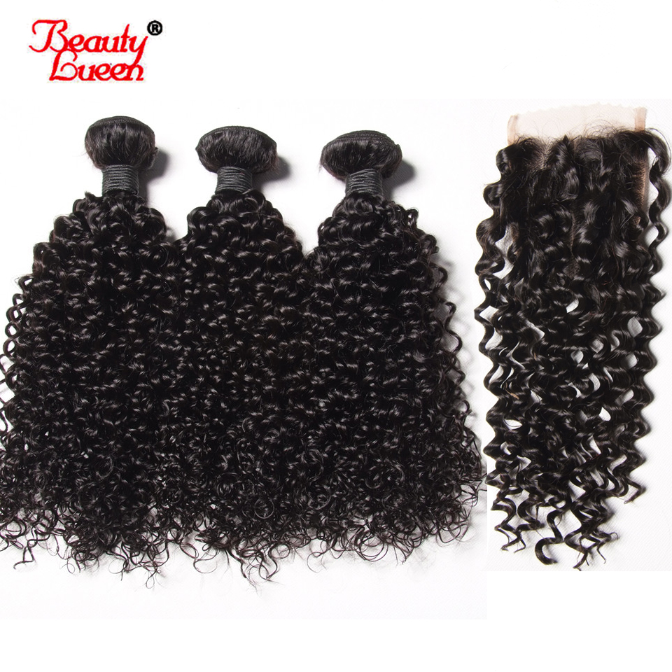 Beauty Lueen Afro Kinky Curly Weave Human Hair Bundles With Closure 3 Bundles With Closure Malaysian Non Remy Hair Extensions