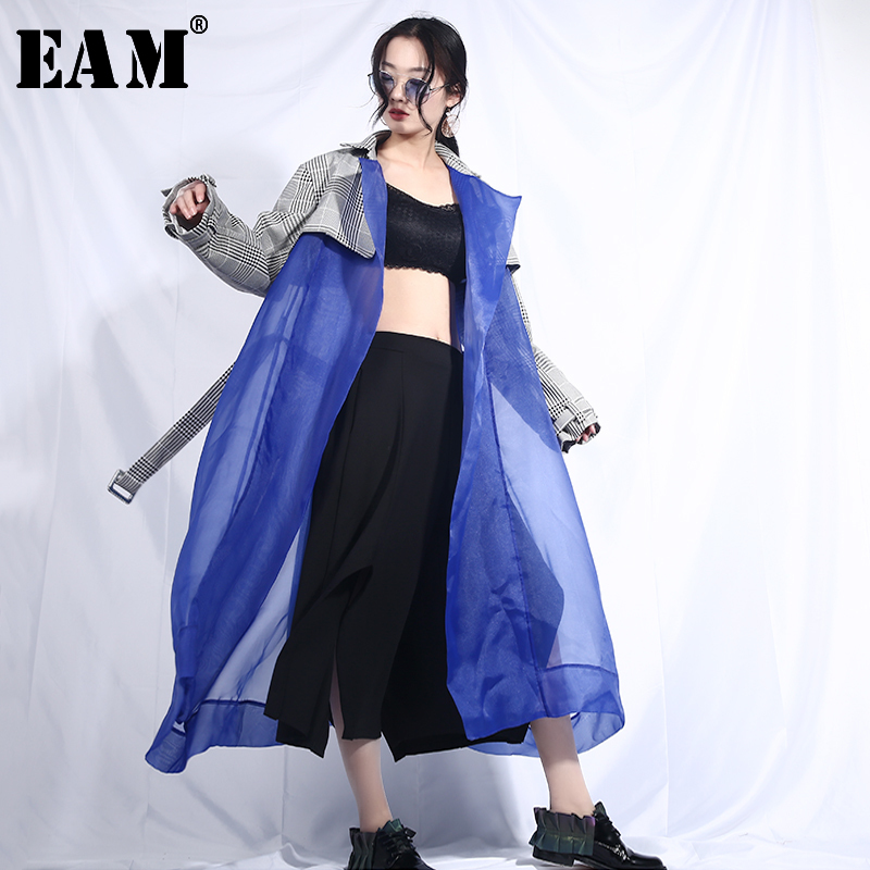[EAM] 2019 New Spring Lapel Long Sleeve Plaid Printed Hem Blue Organza Stitch Perspective Windbreaker Women   Trench   Fashion JL54