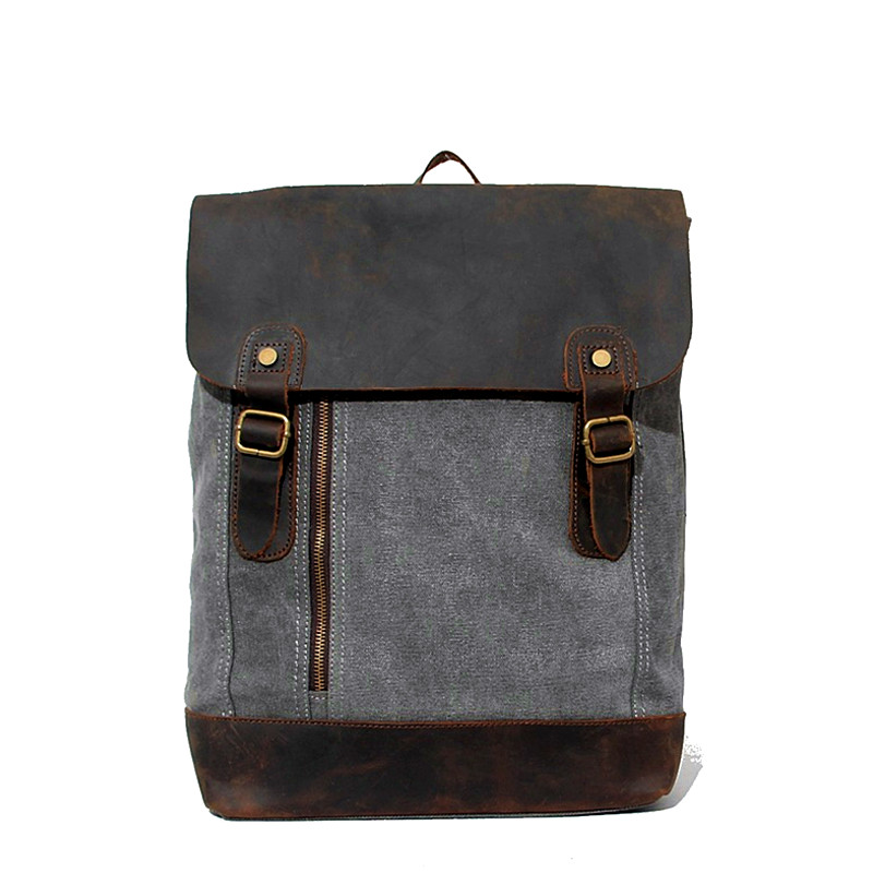 Vintage Canvas Backpack Patchwork Large Capacity Mens Crazy Horse Leather Backpack Woman Daypacks Travle Backpack