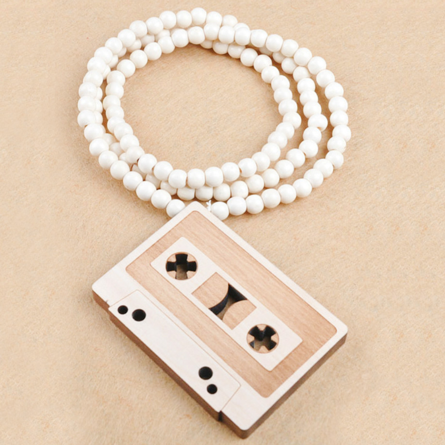 Brand New Hip Hop Retro Radio Necklace For Men Long Beads Chain Vintage Pendant Necklaces Male Jewelry Gift Colares Bijuterias