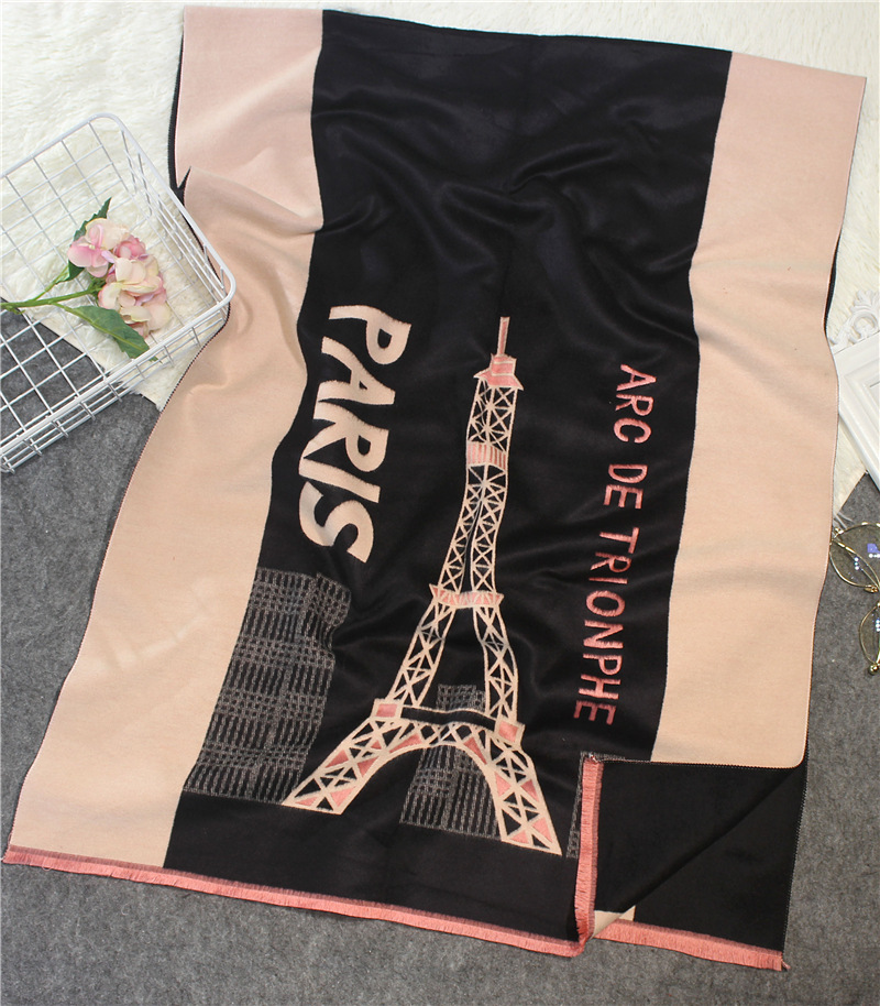 SC35 New Brand 2017 Cashmere Scarf Women s Winter Warm Fashion Eiffel Tower Paris Pattern Scarves Scarf Women Print Pashmina