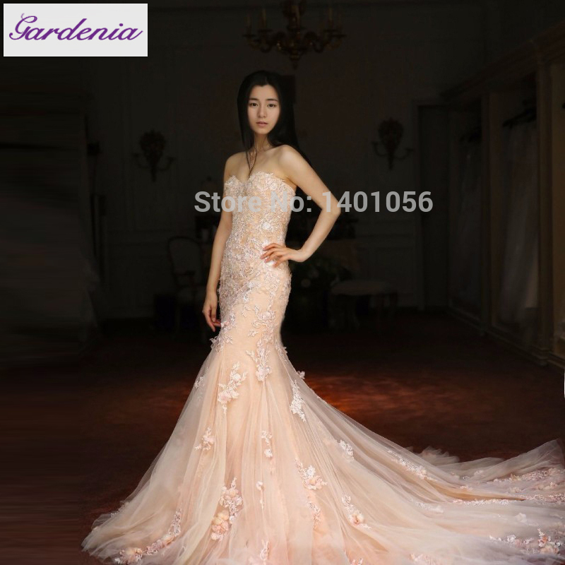 Actual Image Elegant Mermaid Backless Wedding Dress Court Train ...