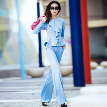 women's Leisure suit / Pant Suits,Long sleeved Light blue commuter slim suit wave collar coat + small stretch knit pants weila