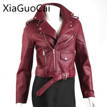 Fashion Waterproof Leather Women Jackets Long Sleeve Zip Turn-down Collar Overcoat Thick Spring and Autumn Coats Z503 35