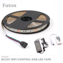 5m DC12V Wireless WiFi Controlled RGB LED Light Strip With Power Adapter SMD5050 Waterproof For Decoration Ambient Light
