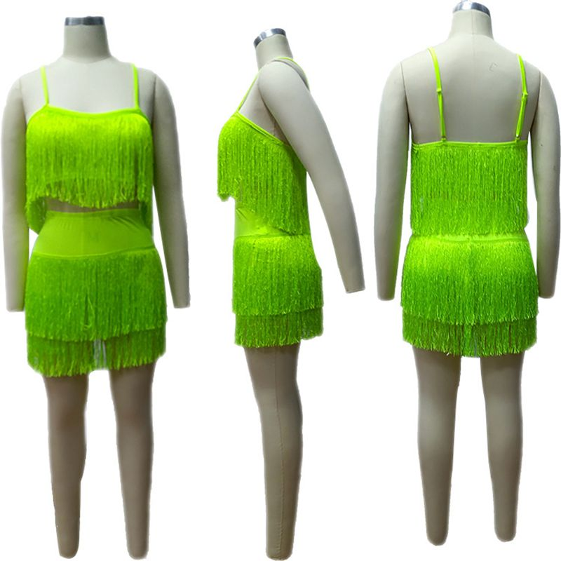 2019 Neon Green Pink Sexy Two Piece Set Women Festival Rave Clothes Tassel Crop Top and Mini Skirts 2 pcs Summer Club Outfits in Women 39 s Sets from Women 39 s Clothing